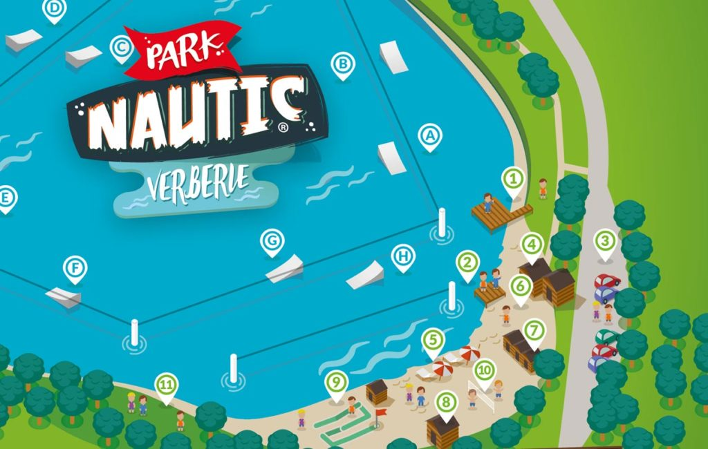 Illustration du leaflet Parc Nautic Verberie créé par Graffiti agence de communication print et digitale